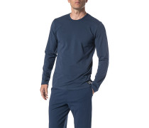 Schlafanzug Longsleeve, Baumwolle, marine