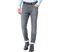 Jeans, Modern Fit, Baumwoll-Stretch, anthrazit