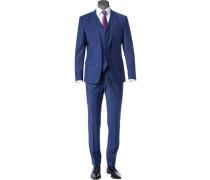 Anzug mit Weste, Slim Fit, Schurwolle, royal
