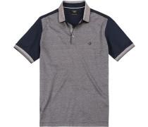 Polo-Shirt, Baumwoll-Jersey, marine-greige