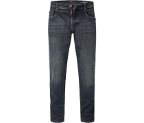 Jeans, Tapered Fit, Baumwoll-Stretch, nacht