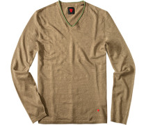 Pullover, Leinen, greige