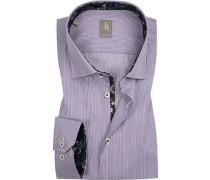Hemd, Slim Fit, Popeline, weiß-violett gestreift
