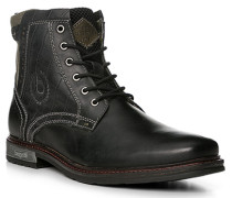 Schuhe Stiefeletten, Leder-Textil, anthrazit