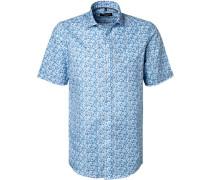 Kurzarmhemd, Comfort Fit, Baumwolle, türkis-weiß