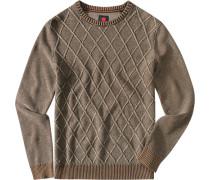 Pullover, Baumwolle, greige meliert