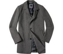 Mantel, Baumwoll-Wolle, -weiß gemustert