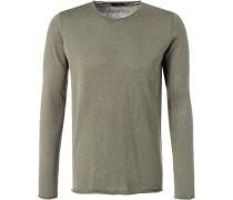 Pullover, Baumwolle-Kaschmir, oliv meliert