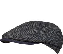 Schirmmütze, Wolle, navy-grün gemustert