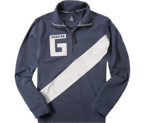Polo-Shirt, Baumwoll-Jersey, navy-weiß gemustert