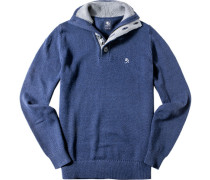 Pullover Troyer, Baumwolle, denim