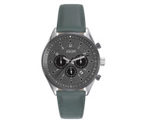Uhren Armbanduhr, Edelstahl-Lederband, grün