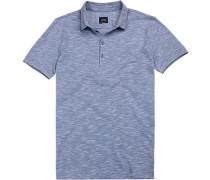 Polo-Shirt, Slim Fit, Baumwoll-Pique, hell meliert