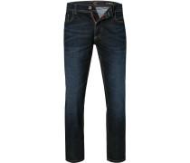 Jeans, Straight Fit, Baumwoll-Stretch, dunkel
