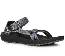 Schuhe Sandalen, Textil, -capriblau gemustert