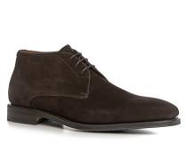 Schuhe Schnürstiefeletten, Veloursleder, dunkel