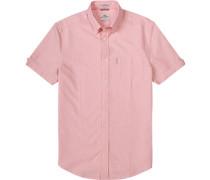 Kurzarmhemd, Oxford, rosa-weiß meliert