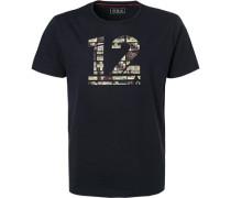 T-Shirt, Baumwolle, navy gemustert