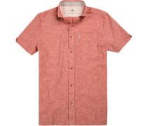 Kurzarmhemd, Slim Fit, Baumwolle-Leinen