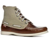Schuhe Schnürboots, Leder- Canvas, hell-greige