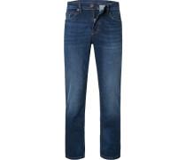 Jeans, Regular Fit, Baumwoll-Stretch, dunkel