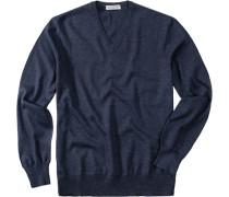 Pullover, Merinowolle, jeansblau meliert