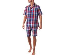 Schlafanzug Pyjama, Baumwolle,  kariert