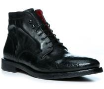 Schuhe Schnürboots, Leder, nero