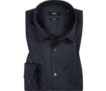 Hemd, Slim Fit, Baumwolle, navy