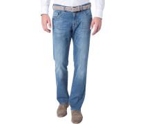 Jeans, Regular Fit, Baumwoll-Stretch, saphir