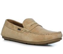 Schuhe Mokassins, Veloursleder, sand