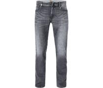 Jeans, Modern Fit, Baumwoll-Stretch, grau