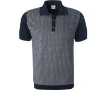 Polo-Shirt, Baumwolle, navy gemustert