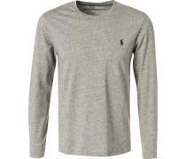 Langarmshirt, Custom Slim Fit, Baumwolle,  meliert