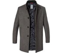 Mantel, Wolle, -schwarz meliert