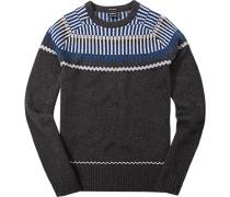 Pullover, Lammwolle, anthrazit gemustert