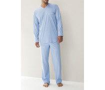 Schlafanzug Pyjama, Baumwolljersey, hell