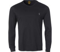 Langarmshirt, Custom Slim Fit, Baumwolle, schwarz