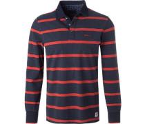 Polo-Shirt, Baumwolle, navy-rot gestreift