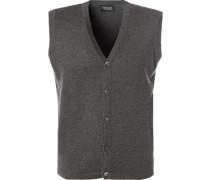 Pullover Strickweste, Seide-Kaschmir, anthrazit