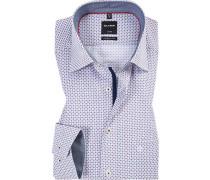 Hemd, Modern Fit, Popeline, blau-rot gemustert