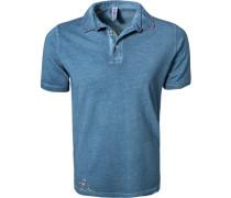 Polo-Shirt, Baumwoll-Piqué, marine meliert