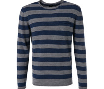 Pullover, Wolle-Alpaka-Microfaser, grau- gestreift