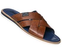 Schuhe Sandalen, Kalbleder, cognac