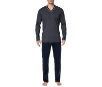 Schlafanzug Pyjama, Baumwolle, marine gemustert