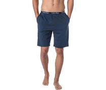 Schlafanzug Pyjamashorts, Baumwolle, marine