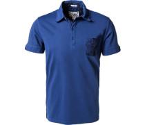 Polo-Shirt, Baumwoll-Jersey, saphir