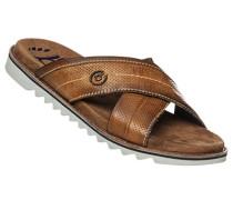 Schuhe Sandale, Leder-Textil, cognac