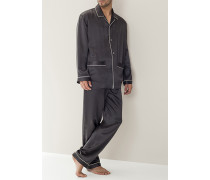 Schlafanzug Pyjama, Seide, anthrazit