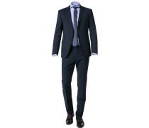 Anzug, Slim Fit, Schurwolle-Seide, dunkel kariert